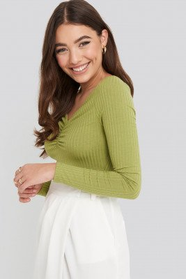 NA-KD Front Ruched Ribbed Top - Green