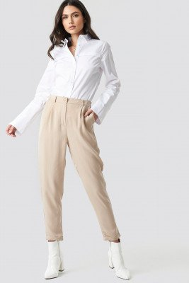 Trendyol Lyocell Carrot Pants - Beige