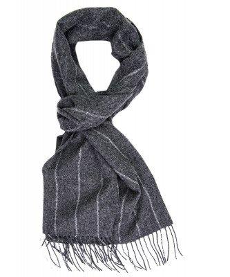 Profuomo Profuomo heren grijs gestreepte wollen sjaal