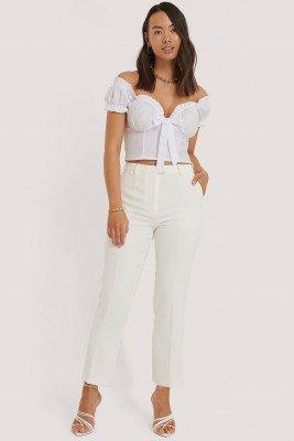 NA-KD Classic Cropped Pantalon - White