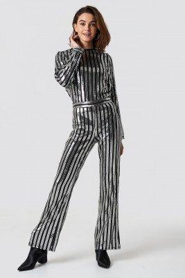 Emilie Briting x NA-KD Emilie Briting x NA-KD Sequin Pants - Multicolor,Silver