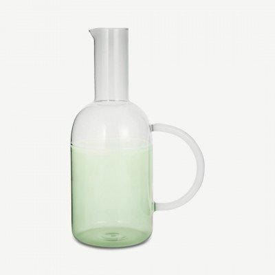 MADE.COM Ichendorf Milano tweekleurige glazen kan, 175 cl, groen en rookglas