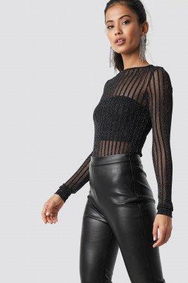 Hannalicious x NA-KD Hannalicious x NA-KD Striped Glittery Long Sleeve Top - Black