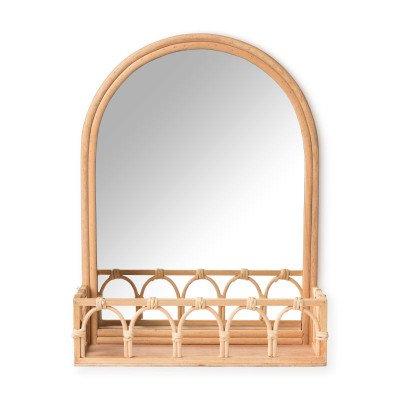 Xenos Rotan spiegel met bakje - 30x40x10 cm
