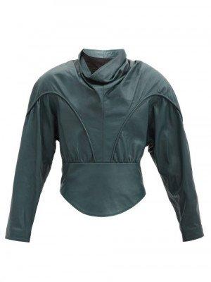 Matchesfashion Isabel Marant - Loneya Slouched High-neck Leather Blouse - Womens - Dark Green