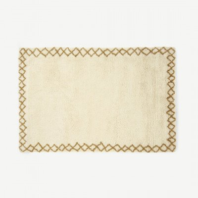 MADE.COM Heijer gewassen shaggy vloerkleed van 100% wol, groot, 160 x 230 cm, roomwit en lichtbruin