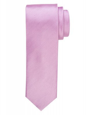 Profuomo Profuomo heren roze uni zijden stropdas