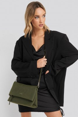 NA-KD Accessories Faux Suede Flap Over Bag - Green
