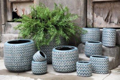 PTMD PTMD Pot 'Jasper', Keramiek, 80 x 25 x 30cm, kleur Blauw