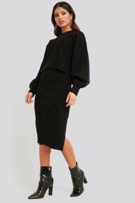 NA-KD NA-KD Rib Knitted Skirt - Black