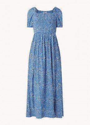 Tommy Hilfiger Tommy Hilfiger Maxi jurk met smockwerk en panterprint
