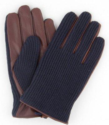 Profuomo Profuomo heren navy gebreide en cognac leren handschoenen