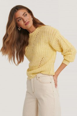 NA-KD Melange Round Neck Knitted Sweater - Yellow