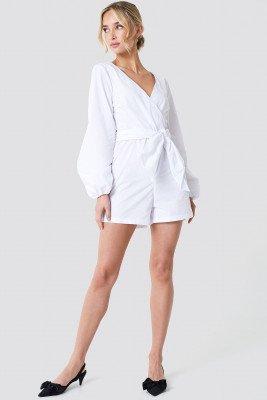 NA-KD Boho NA-KD Boho Balloon Sleeve Shirt Playsuit - White