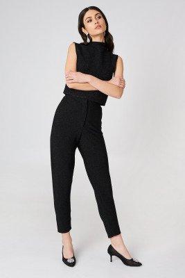 NA-KD Party NA-KD Party Glittery Highwaist Trousers - Black