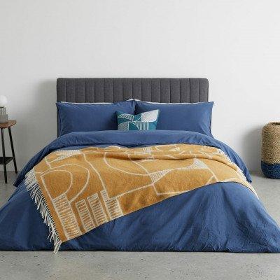 MADE.COM Cassar bedsprei, 125 x 170cm, mosterd