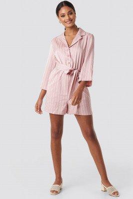 NA-KD NA-KD Striped Playsuit - Pink