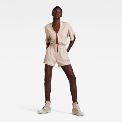 G-Star RAW Contrast Zipper Blouse Playsuit - Beige - Dames