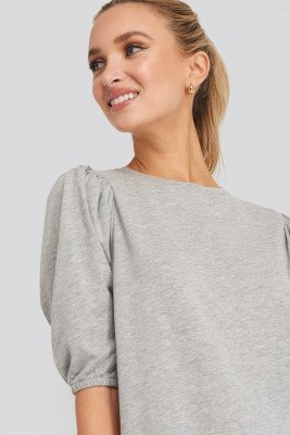 NA-KD NA-KD T-shirt Puff Sleeve Dress - Grey