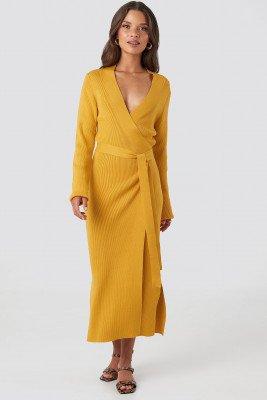 NA-KD Trend Rib Knitted Dress - Yellow