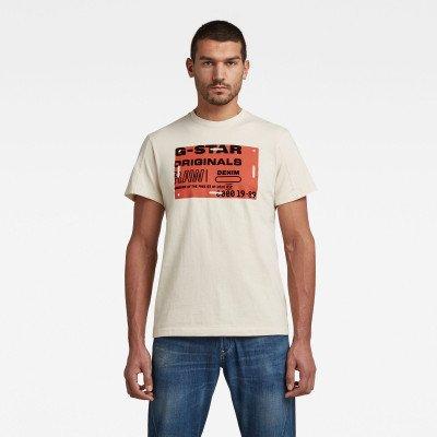 G-Star RAW Flock Badge Graphic T-Shirt - Beige - Heren
