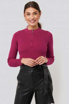 NA-KD Zip Knitted Sweater - Pink