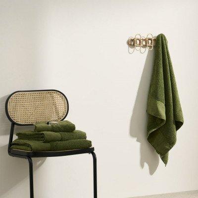 MADE.COM Narinda set van 4 handdoeken, katoen en linnenmix, mosgroen