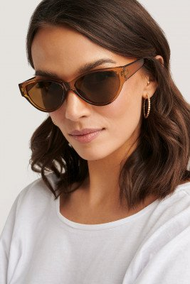 NA-KD Accessories Drop Shaped Cateye Sunglasses - Brown
