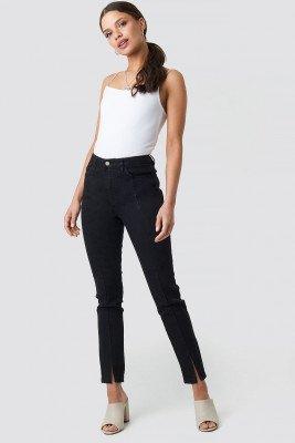 NA-KD NA-KD Highwaist Skinny Front Slit Jeans - Black