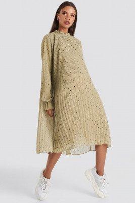NA-KD NA-KD Pleated Dotted Dress - Green