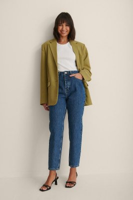 NA-KD NA-KD Versleten Mom Jeans - Blue
