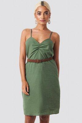 Trendyol Strap Linen Mini Dress - Green