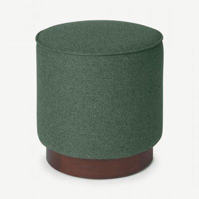 MADE.COM Hetherington kleine poef met houten onderkant, Mourne groen en donkergebeitst hout