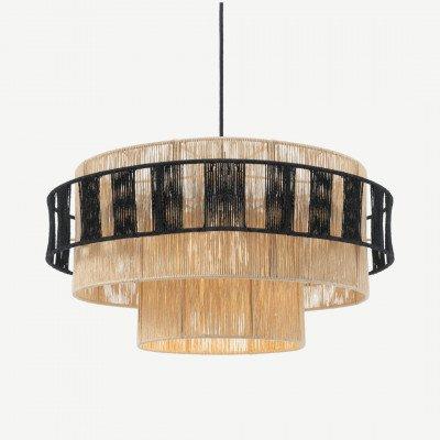 MADE.COM Lovato hanglamp lampenkap, naturel en zwart raffia