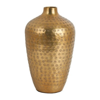 Xenos Vaas fles bol - goud - Ø17x27 cm