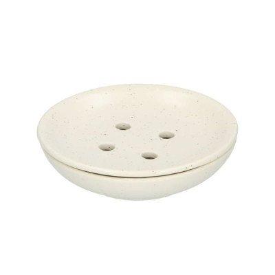 DilleenKamille Zeepbakje, aardewerk, wit gespikkeld,Ø 9 cm