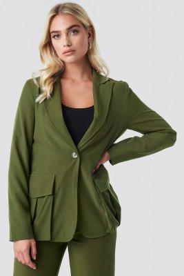 NA-KD NA-KD Front Pockets Single Button Blazer - Green