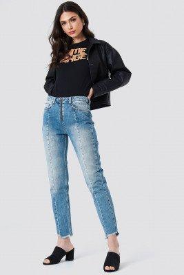 NA-KD NA-KD Front Zipper Panel Jeans - Blue