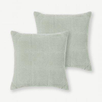 MADE.COM Keeble set van 2 fluwelen kussens, 45 x 45 cm, bleekgroen