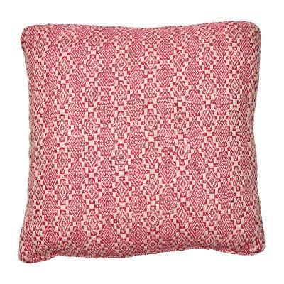 Xenos Kussen roze/wit - ruitjes - 45x45 cm