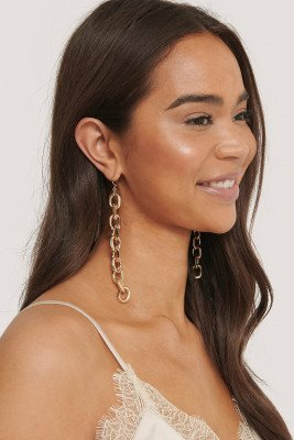 NA-KD Accessories Lange Chunky Chain Oorbellen - Gold