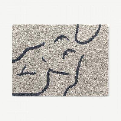 MADE.COM Carla badmat, 100% katoen, groot 70 x 100 cm, mistgrijs