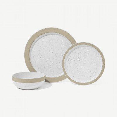 MADE.COM Sindri 12-delig serviesset met gespikkeld glazuur en lichtbeige rand, wit en lichtbeige