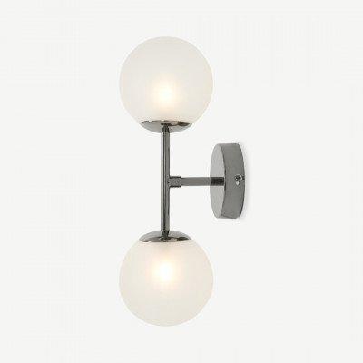 Globe wandlamp, zwart nikkel en matglas