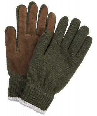 Profuomo Profuomo heren groen gebreide handschoenen met suède