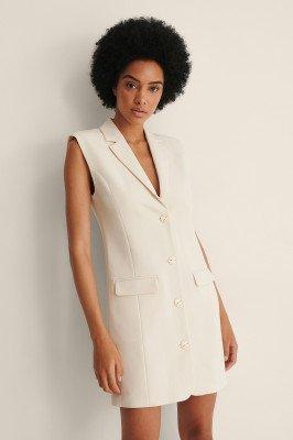 NA-KD Classic NA-KD Classic Tailored Vest Dress - Offwhite