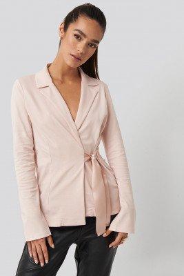 NA-KD Party Asymmetric Side Tie Blazer - Pink
