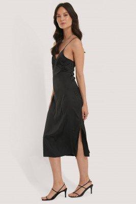 NA-KD Party NA-KD Party Slip Satin Slit Dress - Black