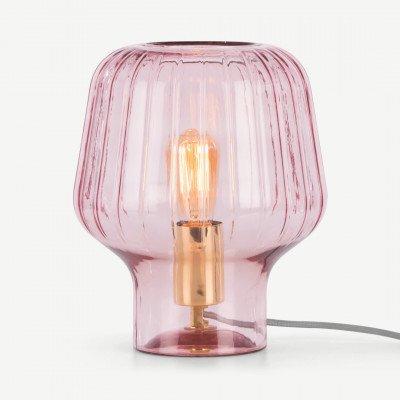 MADE.COM Ewer tafellamp, lichtroze en messing