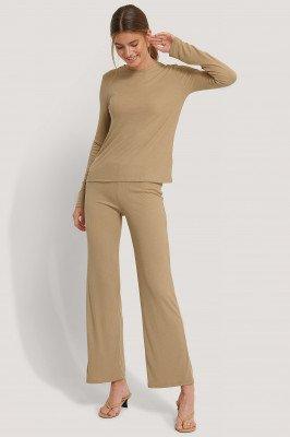 NA-KD Basic Soft Ribbed Wide Basic Pants - Beige